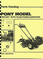 Troy Bilt Pony Tiller Parts Manual/Catalog 1986 Edition