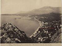 Menton Vista Prise Dei Rochers San Louis Stampa Albume D'Uovo Vintage Ca 1885