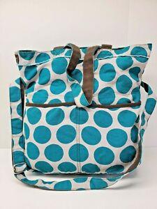 Thirty One Blue Dot Brown Retro Metro Cotton Bag Circles