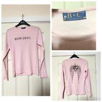 Bon Jovi Pink T Shirt Long Sleeve B&C Size Small S Women (A822)