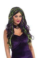 MR177304 Morris Costumes Rebel Stripe Witch Black Purple Green Multi Color Wig