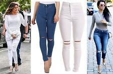 Donna Ragazze Celebrità Ispirato Economico Alto Vita Strappati Skinny Jeans Moda