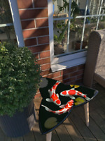 Surfboard Triangle Trefoil Sofa Coffee End Table Japan Koi Fish Style Art Decor