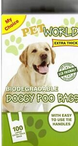 DOG POO BAGS 100 EXTRA THICK LARGE FRAGRANCED BIODEGRADABLE HANDLE DOGGY POOP