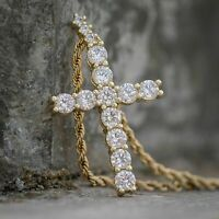 14K Yellow Gold Over 1.00Ct Diamond Round Cut Cross Charm Pendant Necklaces