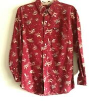 CHAPS Men's Dark Red Outdoors Print Long Sleeve Button Down Size Med. Rare EUC!
