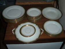 Wm Guerin & Co Limoges France Green Gold Edge Open Serving Bowl