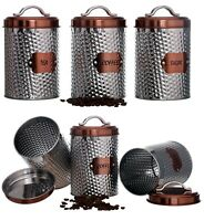 RETRO COPPER STAINLESS STEEL SET OF 3 TEA COFFEE SUGAR CANISTER SET STORAGE JARS