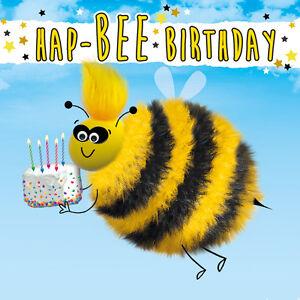 Cute Bee 3D Fluff Luxury Handmade Birthday Greeting Card Bird Animal Lovers