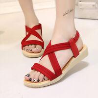 Women's Summer Bohemia Elastic Cross Sandals Flats Roman Casual Beach Shoes HS