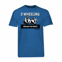 Royal Blue 3 Wheeling T-shirt Tee 3 Wheeling Around the World Sidecar Racing
