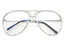 599fda96da Grande Diseñador Aviador Gafas Dorado Montura Metálica Lente Transparente  Mujer