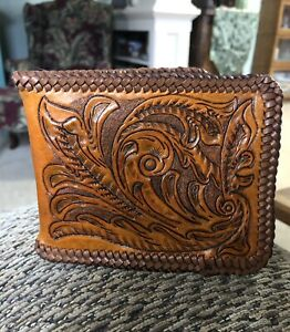 Hand Carved Handcrafted Antique Tan Leather Wallet - Cowboy/Western Style