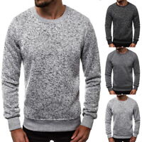Men's Lambswool Crewneck Sweater Casual Long Sleeve Pullover Tops Blouse 03