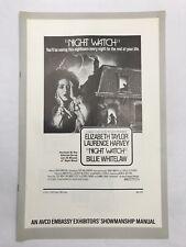NIGHT WATCH Pressbook 8 Pages 11x17 Movie Poster 73 Elizabeth Taylor Horror 1090