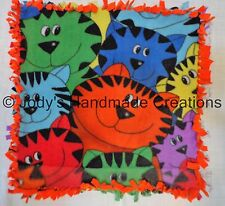 HANDMADE BABY / PET MINI FLEECE TIED SECURITY BLANKET - CATS / ORANGE 16X16