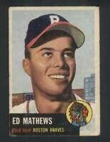 1953 Topps #37 Eddie Mathews VG/VGEX Bos Braves DP 125884