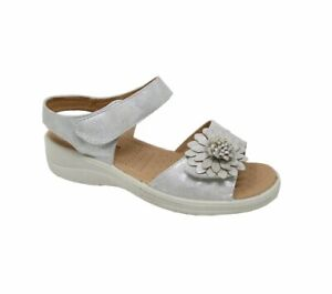 LADIES DR LIGHTFOOT WIDE FIT STRAP UP WEDGE SANDALS SILVER 3-8 7663