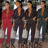 UK Womens Striped Straight Leg Jumpsuit Ladies Plunge Party Playsuit Size 6 - 14