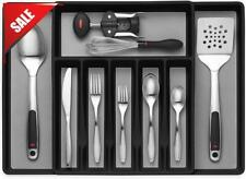 Expandable Cutlery Drawer Organizer Flatware Drawer Tray for Silverware Black