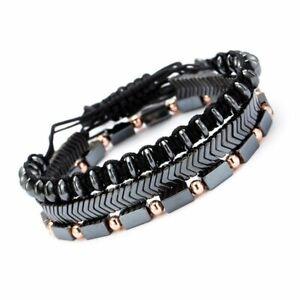 3Pcs Man Punk Black Magnet Beads Stainless Steel Arrow Bracelet Bangle Jewelry