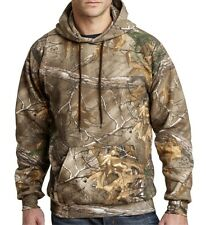 Mens Heavy Cotton Blend Pullover Camo Hooded Hoodie Pockets Hunting Sweatshirt