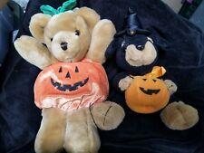 Halloween pumpkin bear and witch dog plush