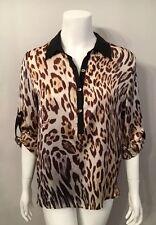 Stunning Alberto Makali Brown Leopard Print Blouse Top Shirt Size M