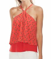 Vince Camuto Womens Blouse Red Size Small S Floral Halter Layered-Hem $79 046