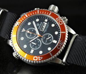 DEEP BLUE 44mm Orange Bezel Black Dial MASTER 1000 SAPPHIRE Watch w Extra Strap