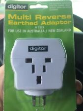 Digitor MULTI-REVERSE Earthed TRAVEL ADAPTER AUSTRALIA/NEW ZEALAND from usa/uk..