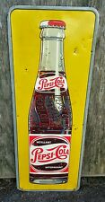Vintage 1950's Canadian Pepsi-Cola Vertical Advertising Sign 48""
