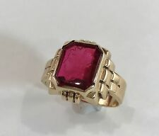 Antique Hand Carved Garnet Intaglio Wax Seal Ring 10k Gold Men's Sz 10 Art Deco