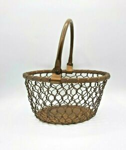 Vintage Decorative Brass Chain Link Basket with Handle
