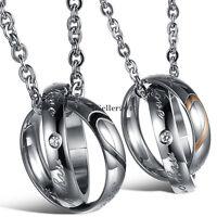 2pcs Edelstahl wahre Liebe Herz Form Versprechen Ringe Anhänger paar Halskette