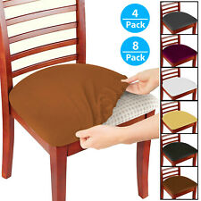 4/8 Pcs Removable Elastic Stretch Slipcovers Dining Spandex Chair Seat Cover US
