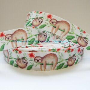 Per Metre - Sloth  - 22mm / 7/8in Printed Grosgrain Ribbon / Cake/ Bow