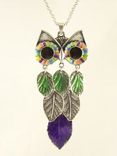 """Colorful New 30"""" Owl Necklace with Leaf Body NWT #N2478"""