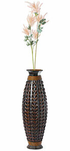 New Tall Bamboo Floor Standing Vase with Wicker Woven Design 39 Inch High