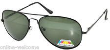 Men Polarized Sunglasses Aviator Spring Black Metal Frame Green Lens 100% UVB