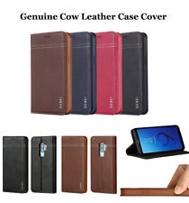 Genuine Real Cow Leather Magnetic Wallet Case Cover For Samsung Galaxy S/Note