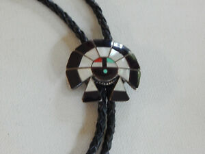 Black Zuni Mosaic Mother of Pearl Inlay Sun Face Bolo Tie