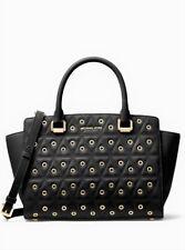 NWT Michael Kors Selma Grommeted Quilted Leather Satchel Shoulder Bag $358 Black