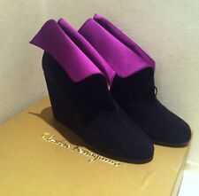 SALVATORE FERRAGAMO ankle Boot Zeppa Suede Nero Viola Limited Edition