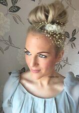 Ivoire Organza Fleur Champagne Perle Pince à Cheveux Spray peigne diapositive choochie Bridal