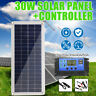 30W 12V SOLAR PANEL REGULATOR TRICKLE BATTERY CHARGER RV AGM Complete Kit