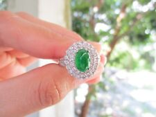 1.32 Carat Diamond 1.68 Carat Jadeite White Gold Ring 18k R63 sepvergara