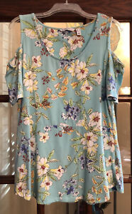 Isaac Mizrahi Live! Island Breeze Tropical Floral Cold Shoulder Tunic M A306450