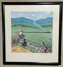 "Artist Norman Rockwell ""Watching The Train"" Lithograph Print Hand Signed Red Ink"