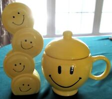 LOT Smiley Happy Face Teleflora Cup/Mug w/Lid & Tall Stacked Face Vase **MINT**